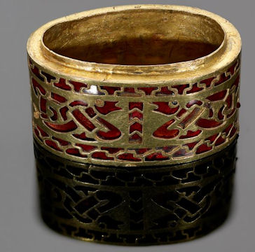 Gold seax hilt fitting with zoomorphic interlace worked in garnets
